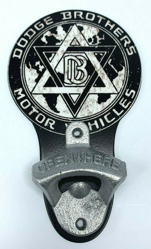 Vintage Style Wall Mount Metal Bottle Opener w/ Dodge Brothers Motor Vehicles