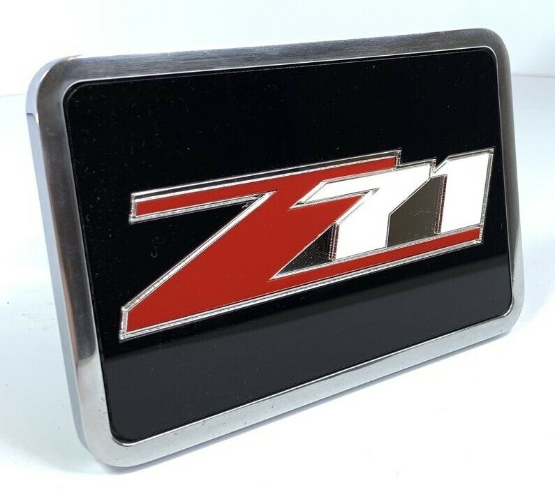Chevy Z71 Tow Hitch Cover - Black w/ Red and Silver Logo - Front