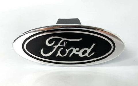 "Image of Ford Oval Emblem Hitch Cover - Black with Chrome Aluminum Plug For 2"" Inch Receivers - 2"