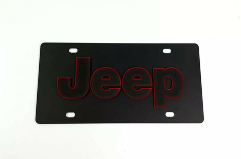Vanity Black Jeep License Plate - Red Outlined Emblem-Live Fast Supply Company