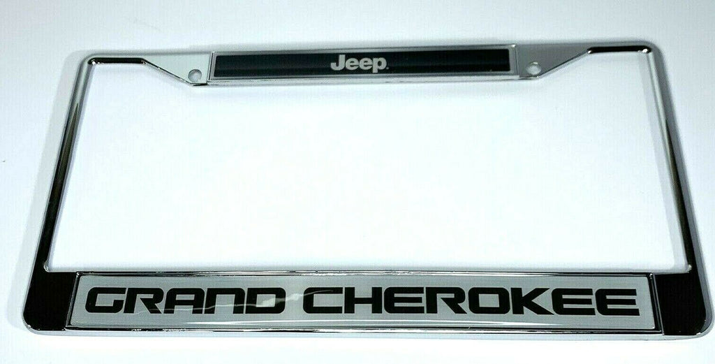 Jeep Grand Cherokee License Plate Frame - Chrome w/ Black Big Emblem - Front