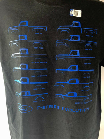 Image of Ford Truck Evolution T-Shirt - Black w/ Blue 1948-09 F-100 & F-150 Body Styles - 1