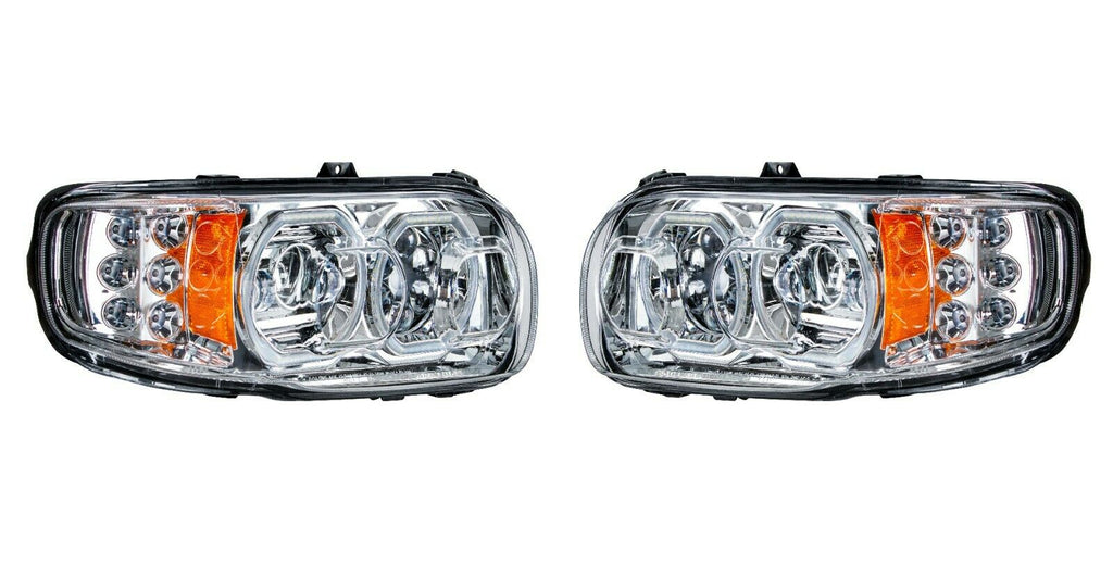 Pair of All LED Headlights with LED Halos DLR & Turn Signals for Peterbilt 388/389 - 1