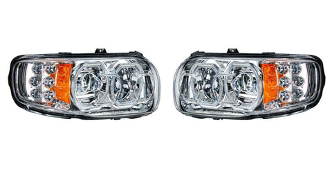 Image of Pair of All LED Headlights with LED Halos DLR & Turn Signals for Peterbilt 388/389 - 1