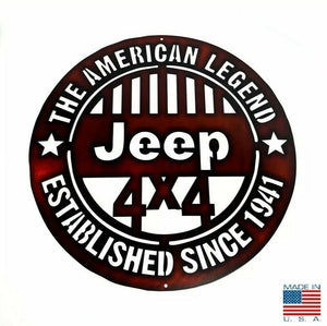 The American Legend Jeep Off Road 4x4 Laser Cut Metal Sign (18'' Diameter)