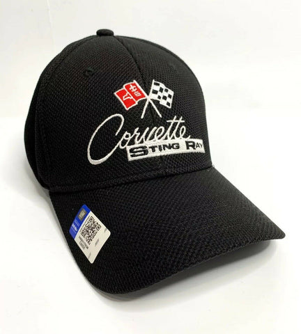 Chevy C2 Corvette Stingray Hat / Cap - Black Flexfit Style w/ Crossed Flags Logo - 2