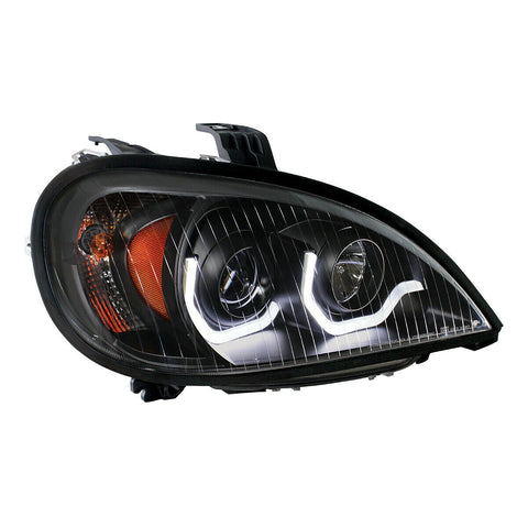 "Image of Pair ""Blackout"" Headlights with White LED Light Bar for Freightliner Columbia - 6"