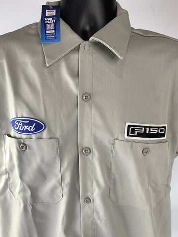 Mechanic Style Button Up Shirt - Gray w/ Blue Ford Oval & Black F-150 Emblem - 2