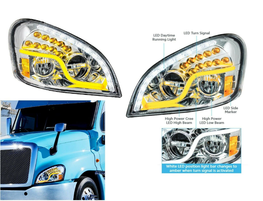 Pair of LED Headlights with Dual Function LED DRL & Turn for Freightliner Cascadia