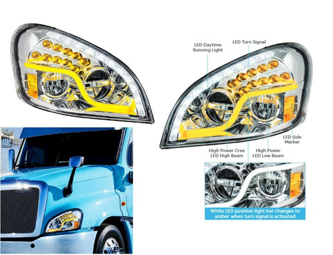 Image of Pair of LED Headlights with Dual Function LED DRL & Turn for Freightliner Cascadia