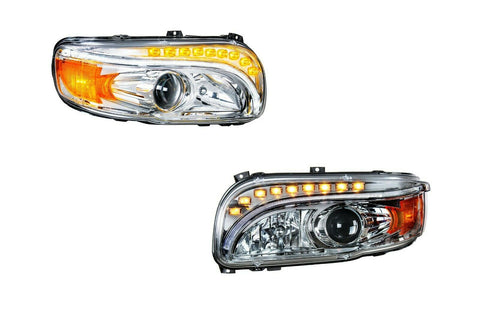 Pair of Projection Headlights with LED Light Bar & Turn Signals for Peterbilt 388/389 - 2