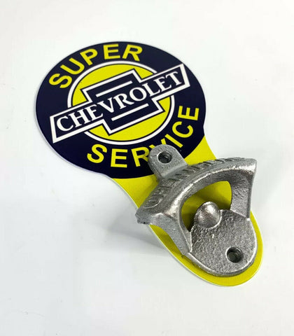 Image of Vintage Style Chevrolet Super Service Chevy Wall Mount Metal Bottle Opener Sign - 2
