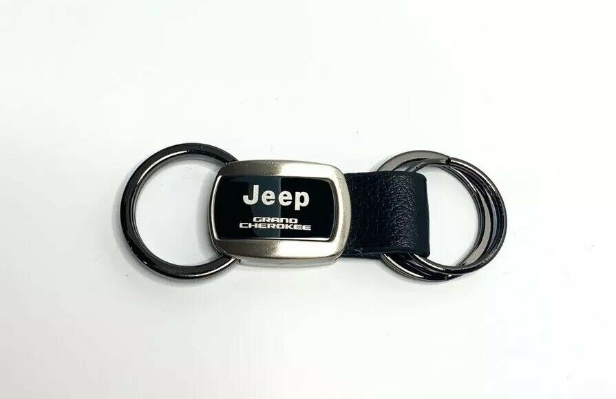 Jeep Keychain - Black Metal & Leather for Grand Cherokee - Front