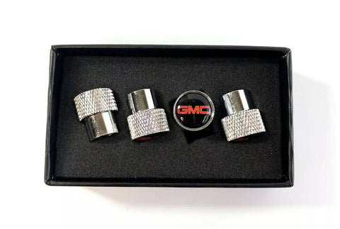 GMC Valve Stem Caps - Knurled Chrome w/ Black - Main
