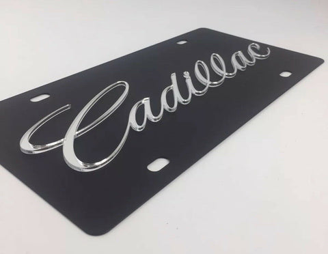 Cadillac License Plate - Black with Mirror Script-Live Fast Supply Company