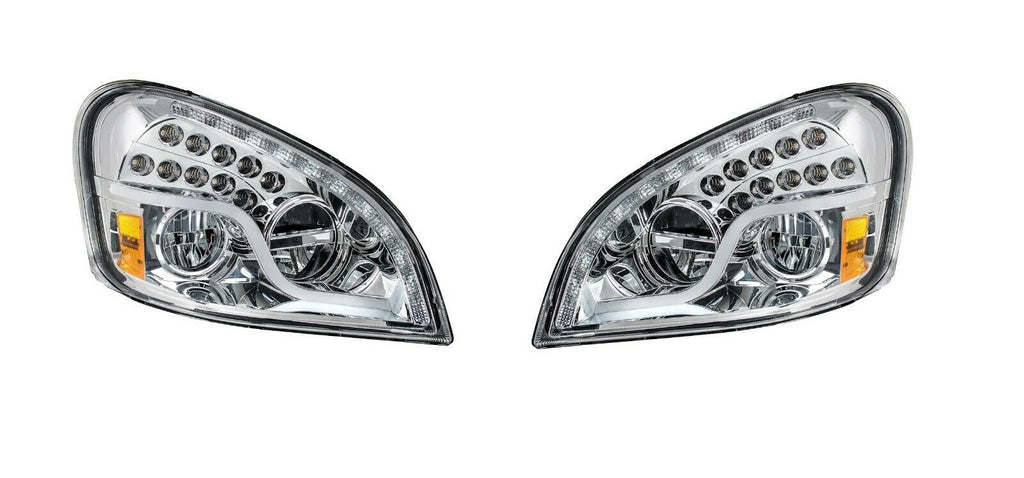 Pair of LED Headlights with Dual Function LED DRL & Turn for Freightliner Cascadia - 2