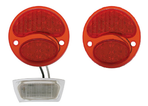 Image of Pair of Ford Model A Tail Light 6V LED Conversion Inserts - Driver & Passenger Side - 1928-1931
