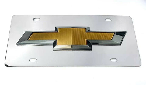 Image of Chrome Chevy Bowtie Emblem License Plate w/ 3D Gold Gloss Logo - 1