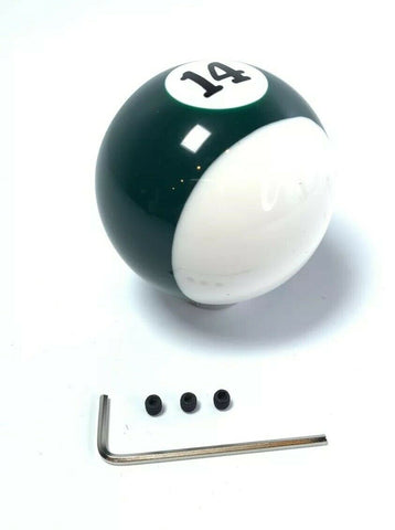 Pool Ball Gear Shift Knob (Green Stripes, Number 14)-Live Fast Supply Company