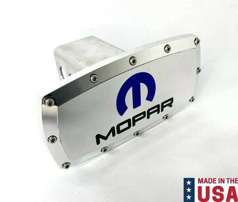 "MOPAR M Logo Polished Hitch Cover Plug For 2"" Inch Tow Receiver - Blue Inlay"