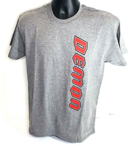 Gray T-Shirt w/ Red Dodge Demon Emblem / Logo (Licensed) - 1