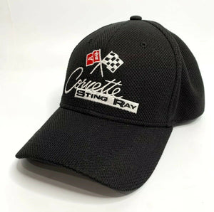 Chevy C2 Corvette Stingray Hat / Cap - Black Flexfit Style w/ Crossed Flags Logo