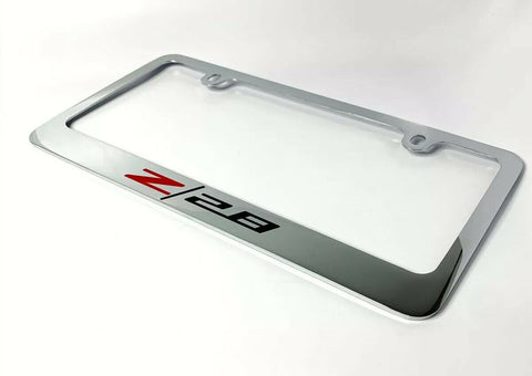 Camaro Z/28 Chrome License Plate Frame - Premium Engraved Logo / Emblem - 2