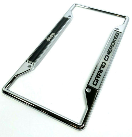 Image of Jeep Grand Cherokee License Plate Frame - Chrome w/ Black - Main