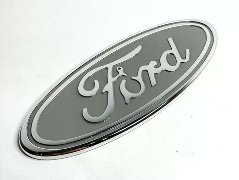 "Image of Ford Grill Tailgate Oval Emblem - 9"" Gray & Chrome Premium Billet Aluminum"