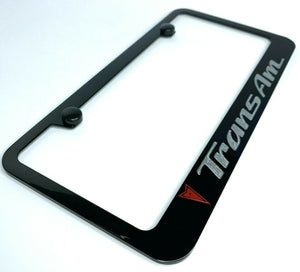 Pontiac Trans Am License Plate Frame - Black w/ Red and Silver Logos - Main