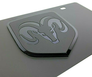 Dodge Ram Emblem Vanity License Plate - Black