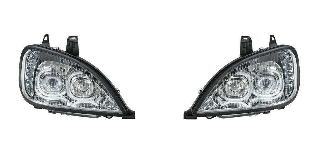 Pair of Chrome Headlights with LED Turn Signal Lights for Freightliner Columbia - 4