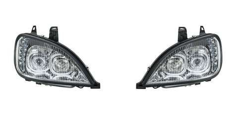 Image of Pair of Chrome Headlights with LED Turn Signal Lights for Freightliner Columbia - 4