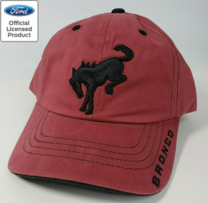 New 2021 Ford Bronco Hat / Cap - Brick Red w/ Embroidered Black Emblem & Script