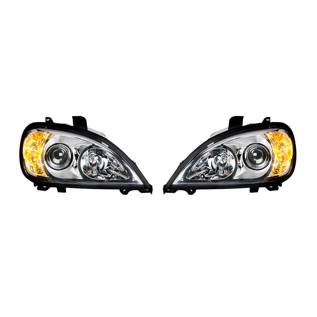 Pair of Chrome Projection Headlights for 1996-2018 Freightliner Columbia - 3