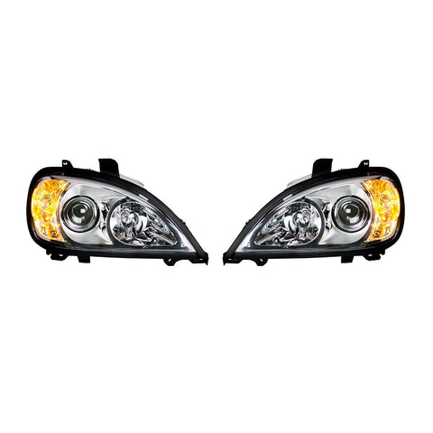 Image of Pair of Chrome Projection Headlights for 1996-2018 Freightliner Columbia - 3