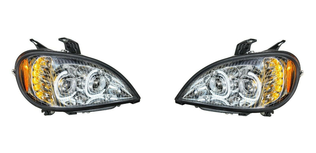 Pair of Chrome Headlights with LED Turn Signal Lights for Freightliner Columbia - 1