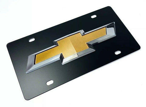 Image of Chevy License Plate - Black with 3D Gold & Silver Bowtie Emblem / Logo