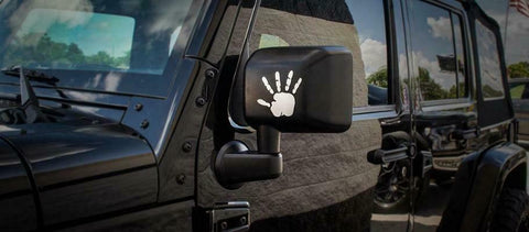Image of Pair of Jeep Wrangler JL JT JK Waving Hands Badges / Emblems for Mirror - Brushed