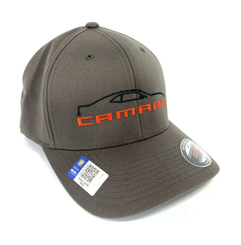 Image of 5th Generation Chevy Camaro Hat / Cap - Gray w/ Black Silhouette & Script Emblem - 2