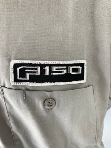 Mechanic Style Button Up Shirt - Gray w/ Blue Ford Oval & Black F-150 Emblem - 3