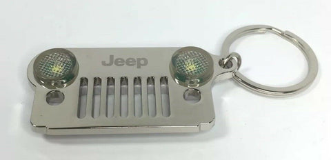 Jeep Wrangler Keychain - Chrome/Silver Metal Front Grill W/ LED Headlights - Front
