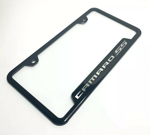 Image of Chevy Camaro SS License Plate Frame - Black w/ Silver Logo - Main