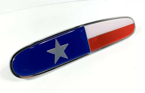 "Image of Chrome Metal Texas Flag Emblem - 10 1/8"" x 2 1/8"" for Freightliner - Front"
