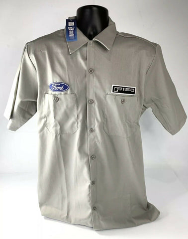 Mechanic Style Button Up Shirt - Gray w/ Blue Ford Oval & Black F-150 Emblem - 1
