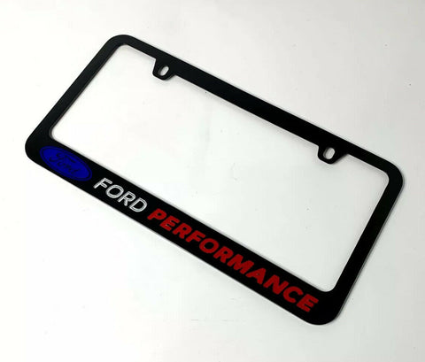 Ford Performance Black License Plate Frame w/ Logo & Script - Premium Engraved - 2