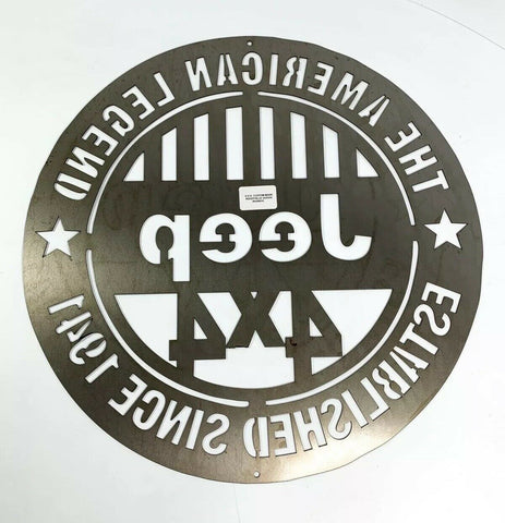 The American Legend Jeep Off Road 4x4 Laser Cut Metal Sign (18'' Diameter) - 4