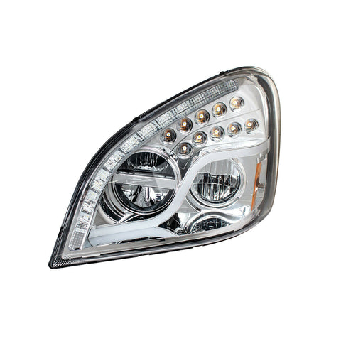 Image of Pair of LED Headlights with Dual Function LED DRL & Turn for Freightliner Cascadia - 5