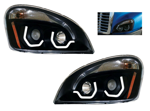 Image of Pair of Blackout Headlights with LED Position Lights for Freightliner Cascadia