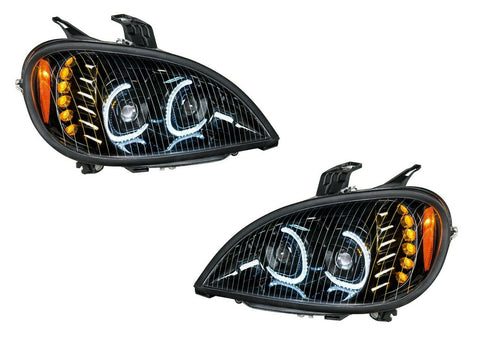 Image of Pair of Blackout LED Headlights with LED Turn Signal & Halo for Freightliner Columbia